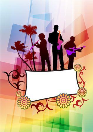 Live Music Band on Abstract Background Original Vector Illustration illustration