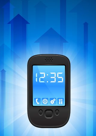 Cell Phone on Blue Arrow Background