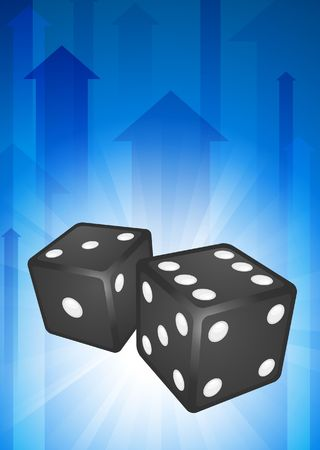 Dice on Blue Arrow Background