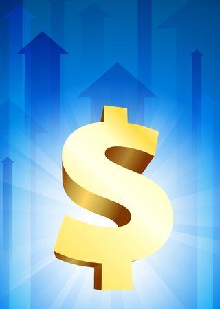 Dollar Currency on Blue Arrow BackgroundOriginal Vector Illustration Stock Illustration - 6441181