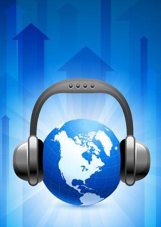 Globe on Blue Arrow BackgroundOriginal Vector Illustration Stock Illustration - 6441359