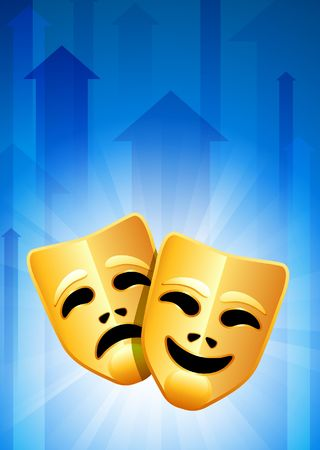 comedy: Tragedy and Comedy Masks on Blue Arrow Background Original Vector Illustration Stock Photo