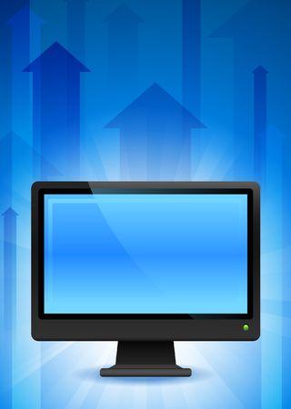 Computer Monitor on Blue Arrow BackgroundOriginal Vector Illustration Stock Illustration - 6441230