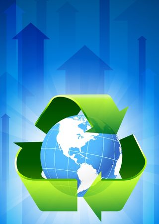Recycle on Blue Arrow Background