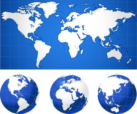World map and globesOriginal Vector IllustrationGlobes and Maps Ideal for Business Concepts