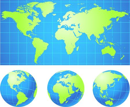World map and globes Original Vector Illustration Globes and Maps Ideal for Business Concepts  illustration