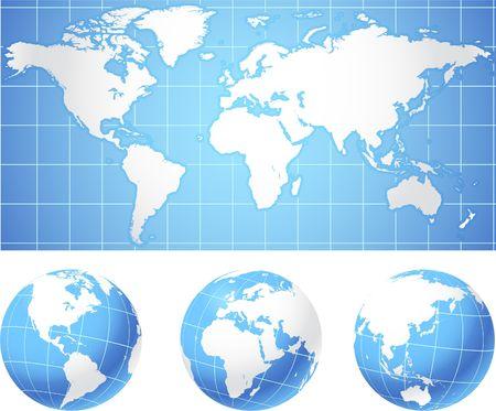 Kaart van de wereld en globes Originele vector illustratie Globes en Maps ideaal voor business concepten  Stockfoto