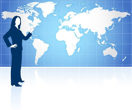 Businesswoman with world map Original Vector Illustration Globes and Maps Ideal for Business Concepts  illustration