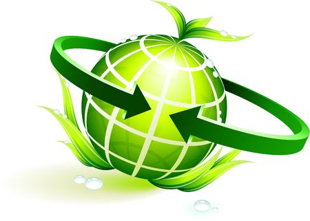 green globe with leaves Original Vector Illustration Globes and Maps Ideal for Business Concepts  illustration