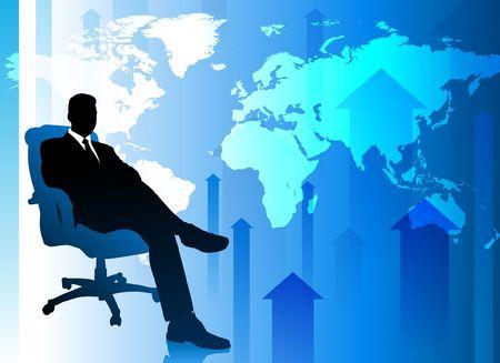 Businessman on Blue Arrow Background with World Map Original Vector Illustration illustration