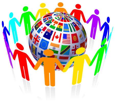 united kingdom: Unity and Flags Globe Original Vector Illustration