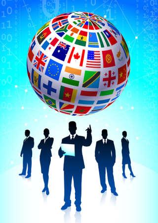 Business Team with Flags Globe Original Vector Illustration illustration
