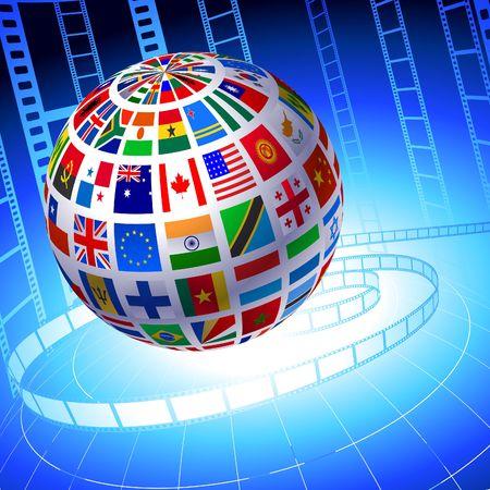 Flags Globe with Film Reel background Original Vector Illustration illustration
