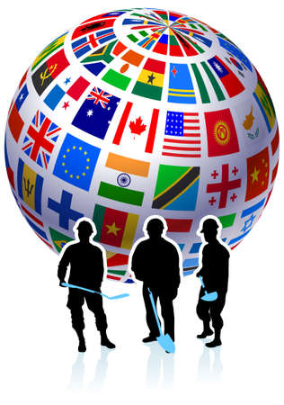 the americas: Construction Workers with Flags Globe Original Vector Illustration