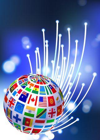 Flags Globe on Fiber Optic Background Original Vector Illustration illustration