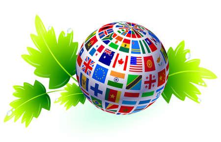 Flags Globe with Leaves Original Vector Illustration illustration
