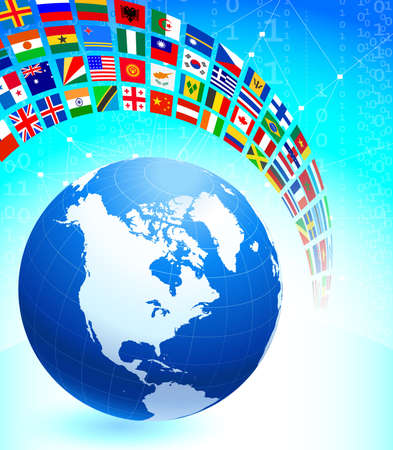 Globe with Many Flag Banner Original Vector Illustration illustration
