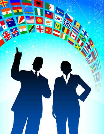 Business Team with Flags Banner Original Vector Illustration illustration