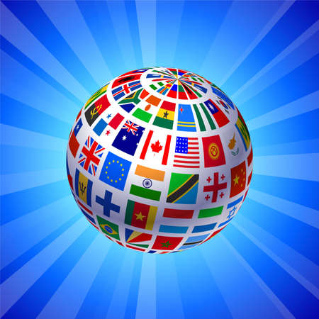 the americas: Flags Globe on Blue Background Original Vector Illustration