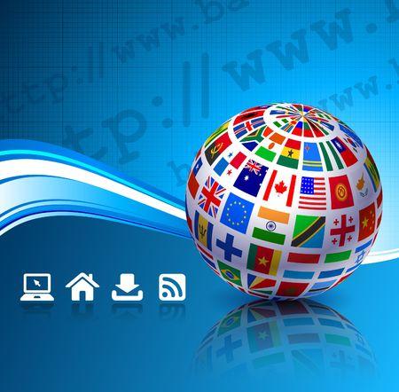 Flags Globes on Blue Internet Background Original Vector Illustration illustration