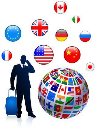 Businessman Global Travel Original Vector Illustration illustration