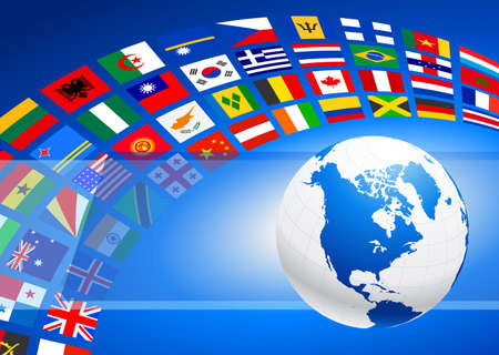 Globe with Many Flag Banner Original Vector Illustration