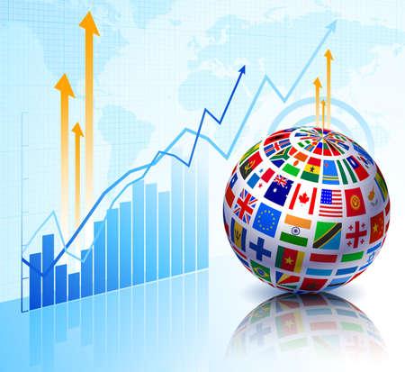 Flags Globe on Stock background Original Vector Illustration illustration