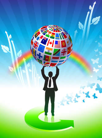Flags Globe  on Green Background Original Vector Illustration illustration