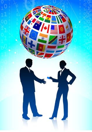 the americas: business team with Flags Globe Original Vector Illustration