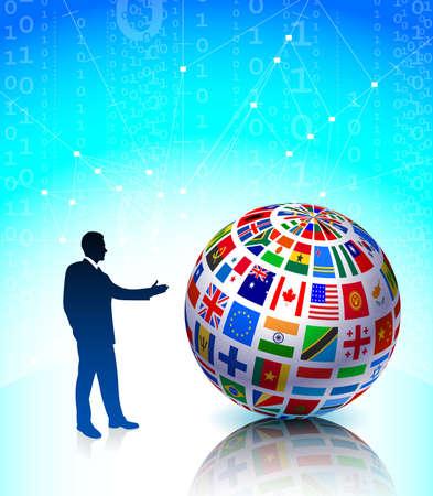 Businessman presenting Flags Globe Original Vector Illustration illustration