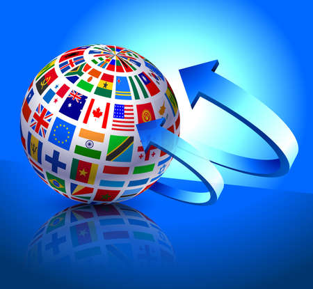 Flags Globe on Blue Arrow Background Original Vector Illustration illustration