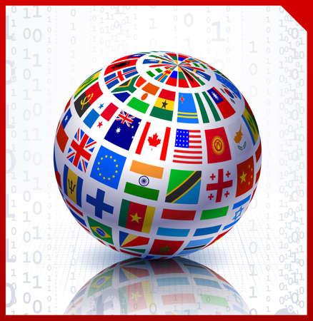Flags Globe on Binary Code Background Original Vector Illustration illustration