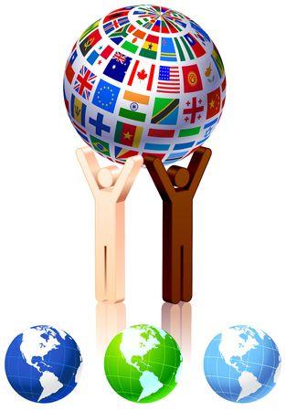 Unity Figures with Globe Original Vector Illustration illustration