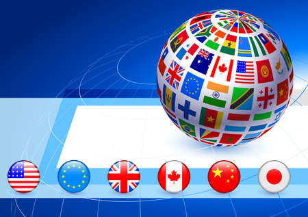 the americas: Flags Globe with Internet Buttons Original Vector Illustration