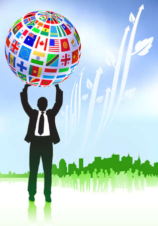 Businessman with Flags Globe Original Vector Illustration illustration