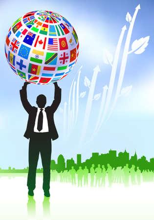 Businessman with Flags Globe Original Vector Illustration illustration