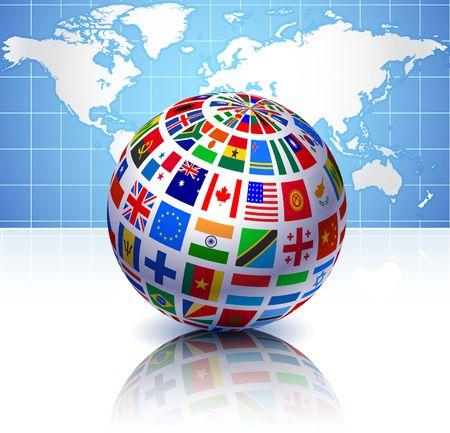 Vlaggen Globe met wereld kaart Oorspronkelijke vector illustratie