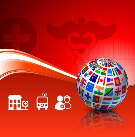 Flags Globe with Health Background Original Vector Illustration illustration