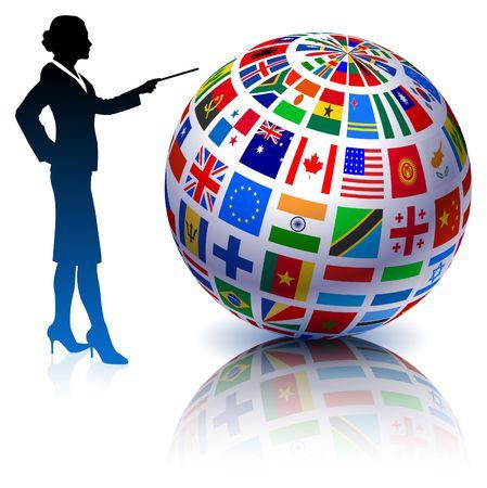 Businesswoman presenting Flags Globe Original Vector Illustration illustration