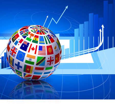Flags Globe on Financial Background Original Vector Illustration illustration