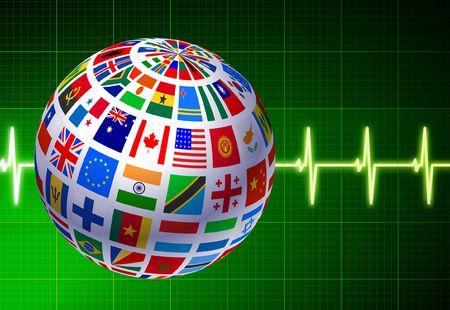 Flags Globe with Pulse Background Original Vector Illustration Stok Fotoğraf