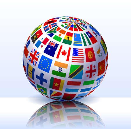 Flags Globe Internet Background Original Vector Illustration Stock Photo
