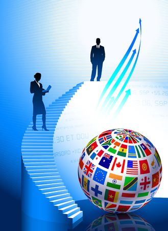 Business Couple with Flags Globe Original Vector Illustration illustration