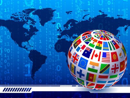 Flags Globe with World Map Binary Code Background Original Vector Illustration Stok Fotoğraf