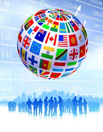 Business Team with Flags Globe Original Vector Illustration illustration
