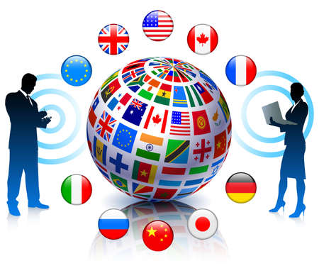 couple lit: Business Team Communicartion with Flags Globe Original Vector Illustration