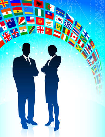the americas: Business Team with Flags Banner Original Vector Illustration