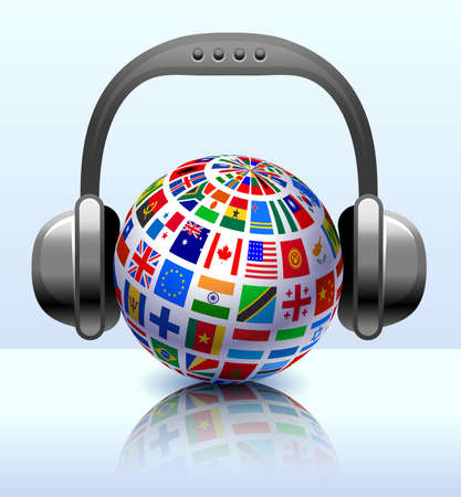 the americas: Flags Globe with Headphones Original Vector Illustration