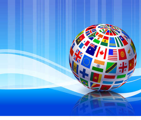 Flags Globe on Blue Abstract Background Original Vector Illustration illustration