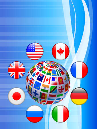 Flags Globe with Internet Buttons Original Vector Illustration illustration